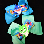 "5.5"" Layered Gator Clip Bows Baby Shark Theme Bright Colors   .54 each"