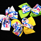 "5.5"" Layered Gator Clip Bows Baby Shark Theme w/ Cry. Stone Center .54 each"