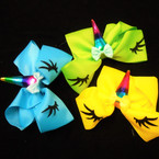 "5.5"" Gator CLip Bows w/ Rainbow Unicorn & Eyes .54 each"