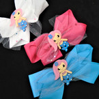 "6"" Mermaid Theme Gator CLip Bows w/ Sparkle Lace  .54 each"