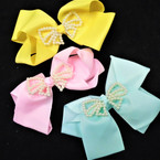 "5.5"" Gator CLip Bows w/ Pearl Bow Center Asst Pastel Colors  .54 each"