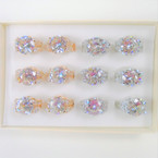 15MM Clear Crystal Stone Gold & Silver Fashion Rings Prong Set 12 per bx .54 each