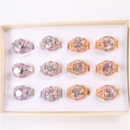 10MM Clear Crystal Stone Gold & Silver Fashion Rings Prong Set 12 per bx .54 each