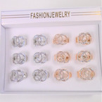 Gold & Silver DBL Circle Cry. Stone Fashion Ring   .54 each