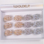 8 Line Gold & Silver  Cry. Stone Cluster Fashion Ring   .54 each