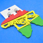 "3"" Rasta Color Wood Earrings """"CLIP ON"""" w/ Africa ( Map) .54 each pair"