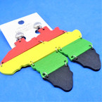 "3"" Rasta Color Wood Earrings """"CLIP ON"""" w/ Map (Africa) .54 each pair"
