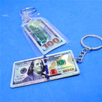 "2.5"" Metal DBL Sided $ 100 Bill  Keychains 12 per pk .54 each"
