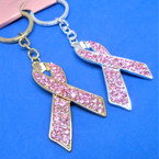 "2.5"" Cast Gold & Silver Ribbon Keychains w/ Pink Crystal Stones .58 each"
