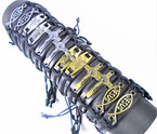 Teen Leather Bracelet w/ 3 Style  Silver & Gold  Religious Mix  .54 ea