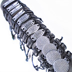 Teen Leather Bracelet w/ 3 Style  Silver Jesus is Lord Theme  .54 ea