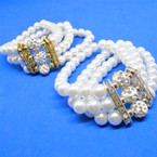 3 Line Glass Pearl Stretch Bracelets w/ Fireball Cry. Beads  .56 each