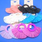 "Hi Fashion 3"" Wood Top Earring w/ Solid Color Fringe Bottom .54 ea pair"