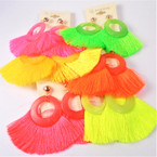 "3"" Rd. Top Neon Color Fringe Tassel Fashion Earrings .54 per pair"