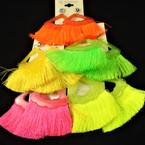 "3"" Fan Look  Top Neon Color Fringe Tassel Fashion Earrings .54 per pair"