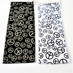 "2.5"" Peace Sign Stretch Headbands Black & White .25 ea"