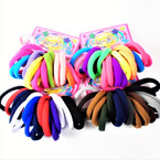 18 Pack Soft & Stretchy Mixed Color Ponytail Holders .50 per set