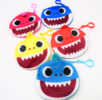 "4.5"" Plush Round   Shark Zipper Coin Purses w/ Clip  12 per pk .50 each"