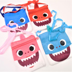 "4.5"" X 5.5""  Plush Cutie Shark Zipper Side Bags w/ Lg. Ribbon Strap   12 per pk .58 each"