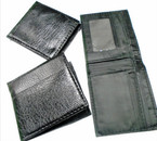Textured  Pattern All Black Men's Bi Fold Wallets  12 per pk .58 each