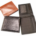 Textured  Pattern Black & Brown Men's Bi Fold Wallets  12 per pk .58 each