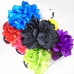 "4"" DBL Flower Jaw Clips Mixed Colors   .56 each"