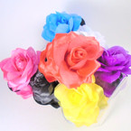 "4"" DBL Shiney Flower Jaw Clips Mixed Colors  .56 each"