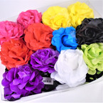 "4"" DBL Flower Jaw Clips w/ Chiffon Mixed Colors  .56 each"