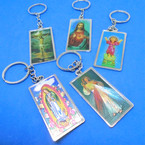 "2"" Cast Metal DBL Sided Religious Picture Key chains .54 each"