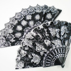 "9"" Hand Fans Black w/ Silver Glitter Flower Patterns  .56 each"
