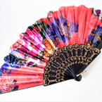 "9"" Hand Fans Asst Color Satin Flower Print Patterns  .56 each"