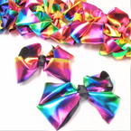 "Popular 5.5"" Rainbow Metallic Gator CLip Bows .54 each"