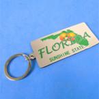 "3"" Silver Florida Sunshine State Keychains w/ Orange 12 per pk .54 ea"