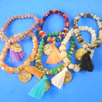 Mixed Color Bead Tassel Bracelet w/ St Benito Charm 12 per pk .54 each
