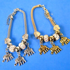 Pandora Style Charm Bracelets Gold/Silver w/  Elephant Charms .56 ea