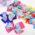 "5.5"" DBL Layer Gator Clip Bows w/ Cute Shark Theme   Asst Colors  .54 each"
