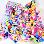 "5"" Rainbow Shark Theme Gator Clip Bows Mixed Prints  .54 each"