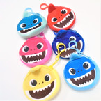 "3.5"" Soft Feel Cute Shark Zipper Purse w/ Clip 12 per pk .54 each"