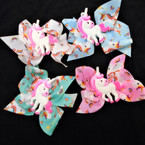 "4"" Unicorn Theme Gator Clip Bows Mixed Colors  24 per pack .27 each"