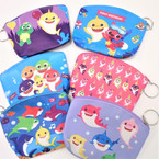 "4"" X 5"" Cute Shark Theme Zipper Purse w/ Keychain  12 per pk .54 each"