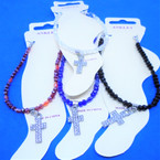 Crystal Stone Bead  Anklets w/ Cry. Stone Cross  12 per pk .54 each