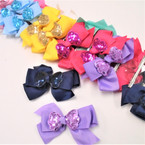 "4.5"" Layered Gator Clip Bow w/ Sequin Bow Center 24 per pk ONLY .32each"