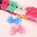 "4.5"" Layered Gator Clip Bow w/ Sequin/Chiffon Bow Center 24 per pk ONLY .32 each"