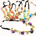Jute Cord & Flower Fashion Headbands w/ Elastic Back  .54 each