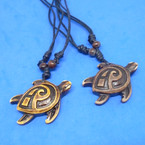 DBL Leather Cord Necklace w/ Turtle  Pendant (5395)  .54 each