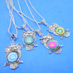 "20"" Silver Chain Necklace w/ Colorful Silver Owl Pend.   .54 each"