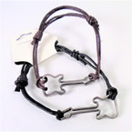 Brown & Black Leather Cord Bracelet w/ Silver Guitar 12 per pk .52 each