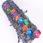 Teen Leather Bracelet w/ Colorful Galaxy Disc  .54 ea