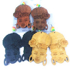 "3"" Wood Fashion Earrings Women w/ Rasta Colors Beads 3 colors .54 per pair"