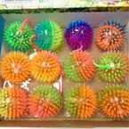 "2.5"" Two Tone Spikey Squeakie Light Up Balls w/ YoYo 12 per bx  .55 each"